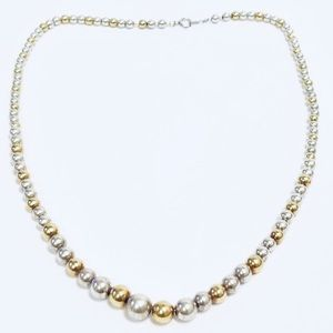 Jewelry - 14k Yellow Gold/925 Silver Graduated Bead Necklace